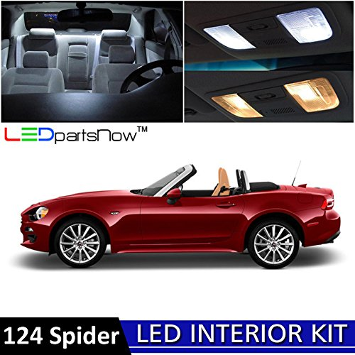 LEDpartsNow 2017-2018 Fiat 124 Spider LED Interior Lights Accessories Replacement Package Kit (4 Pieces), WHITE Fiat Spider
