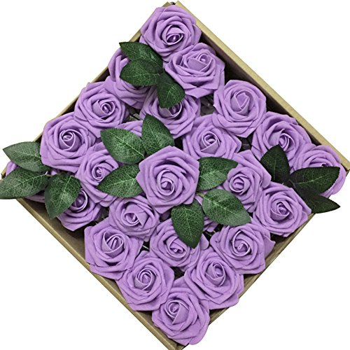 Jing-Rise 50PCS Fake Roses Real Looking Artificial Flowers For DIY Wedding Bouquets Centerpieces Baby Shower Party Home Office Shop Hotel Supermarket Decorations (Lavender) -