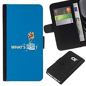 Samsung Galaxy S6 EDGE / SM-G925(NOT FOR S6!!!) Modelo colorido cuero carpeta tirón caso cubierta piel Holster Funda protección - Quote Up Text Cartoon Balloon