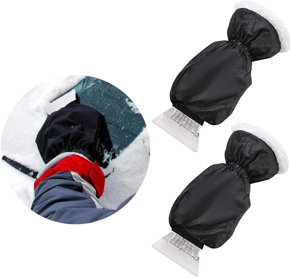 IPELY 2 Pack Ice Scraper Mitt Waterproof Windshield Snow Brushes Scrapers Elastic Wristband Snow Remover Glove Lined of Thick Fleece for Warmth and Protection
