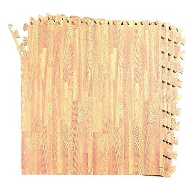 16-SQFT Wood Grain Floor Mat Oak Playmat 4-tile Interlocking EVA Foam with 8-boarder by Poco Divo