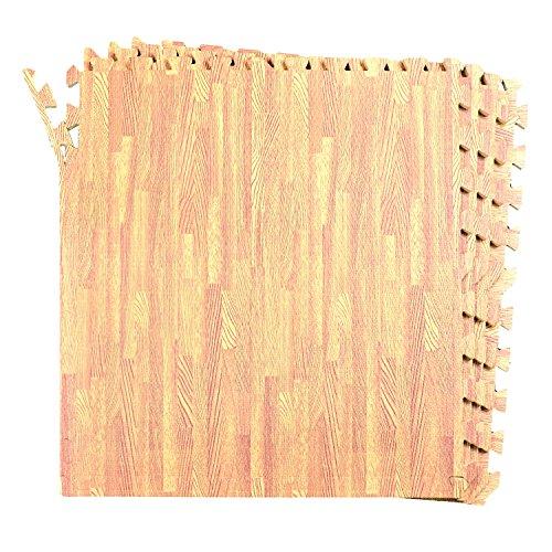 16-SQFT Wood Grain Floor Mat Oak Playmat 4-tile Interlocking EVA Foam with 8-boarder by Poco Divo by POCO DIVO