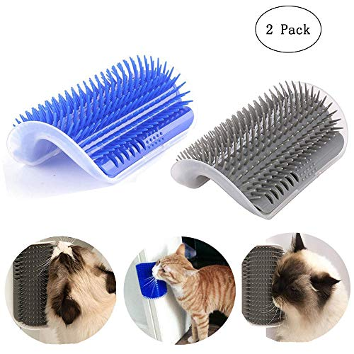 Oneup 2 Pack Cat Self Groomer, Pet Brush Massage Perfect Tool with Catnip Rubber Massage with Long and Short Fur