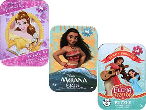3 Collectible Puzzles Tins for Girls Ages 5+ 6+ Moana Disney Princess Belle from Beauty and the Beast, Elena of Avalor Girls Gift Set Bundle