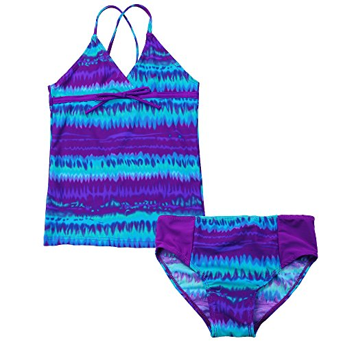 BAOHULU Girls Kids Print Lacing Seaside colorful 2 Piece Sets Bathing Swimwear (9-10Y(Tag No.10A), - Piece Two Bathers