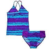 BAOHULU Girls Kids Print Lacing Seaside Colorful 2 Piece Sets Bathing Swimwear