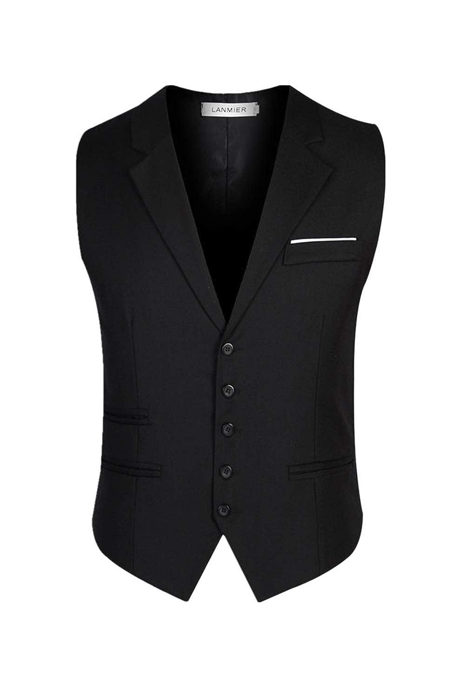 Vosujotis Men Office Waistcoat Formal Business Slim Fit Vest Blazer