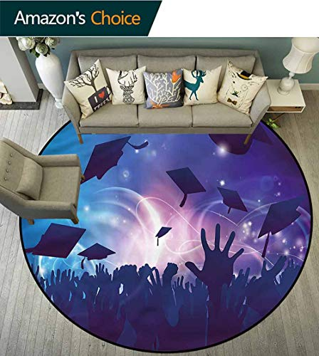 RUGSMAT Graduation Area Rugs Ring 3D Non-Slip Rug,Hands Throwing Caps Non-Slip No-Shedding Kitchen Soft Floor Mat Round-24