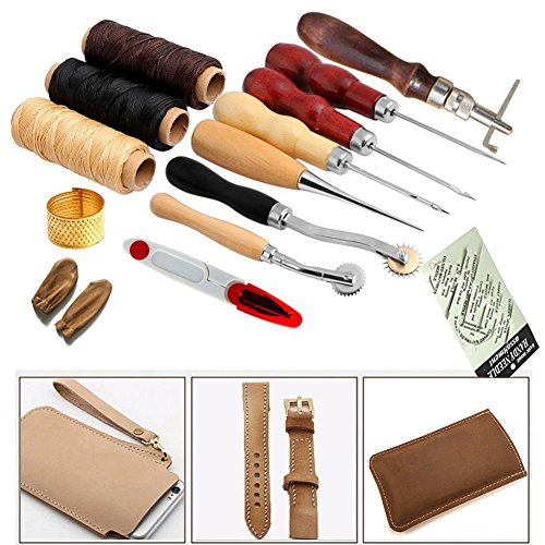 TOPCHANCES 14 Pcs Leather Craft Hand Tool Handmade Tools DIY Tool Leather Stiching Wheel Punch Edger Groover Trench Device Belt Puncher Set Leather Hand Tools Set