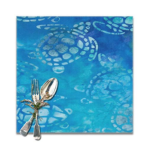 LuJiaoGann Batik Sea Turtles Turquoise Placemat Set of 6 Non-Slip Insulation Placemat Washable Table Mats Easy to Clean(6pcs Placemats, Grey) ()