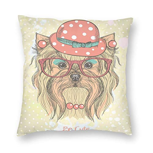 Necklace Hamsa Vibrant (K0k2to Yorkie Throw Pillow Cushion Cover,Be Cute Portrait of an Adorable Dog with Earrings Necklace Glasses Hat Makeup,Decorative Square Accent Pillow Case)