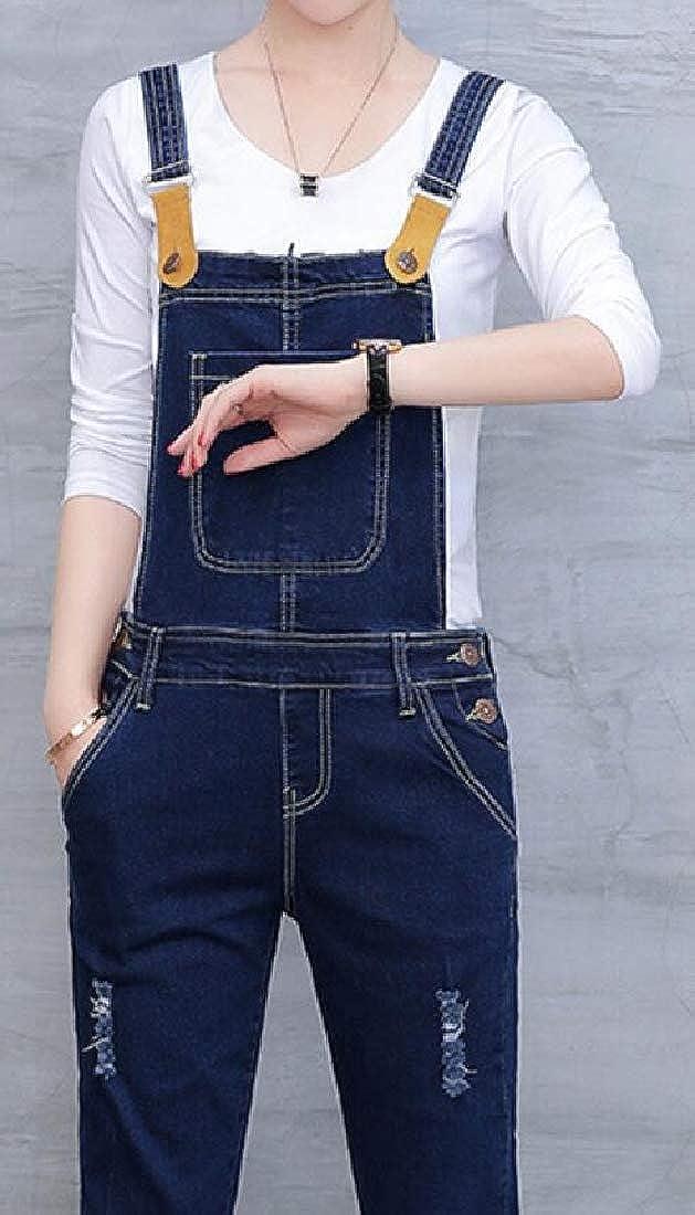 Fensajomon Women Straps Stretch Slim Fit High Waist Jean Pockets Overalls