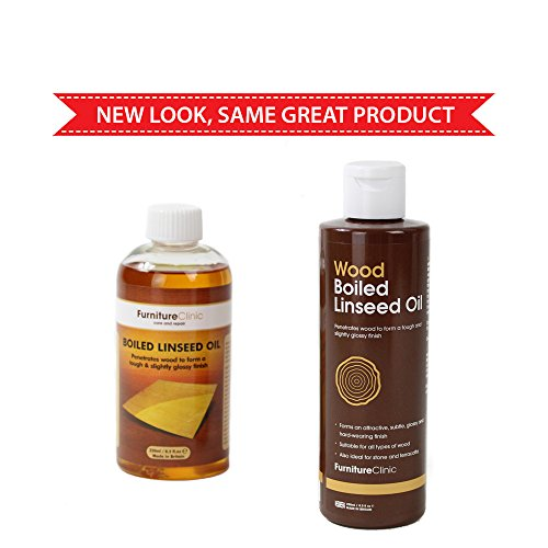 Furniture Clinic Boiled Linseed Oil for Wood Furniture & More | 8.5 oz (250 ml) Refined Oil | Glossy Finish for furniture, table tops, stone & metal - 2