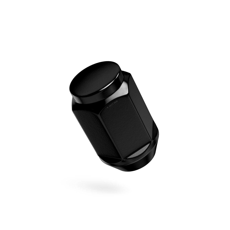 Conical Cone Taper Acorn Seat Closed End 23pc Black Bulge Lug Nuts 1//2-20 Thread Size More for Jeep Cherokee Wrangler Liberty Rubicon CJ3 CJ5 CJ6 CJ7 Scrambler Sahara 1.4 Length