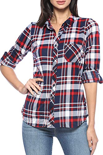 Urban Look Womens Long Sleeve Plaid Button Down Flannel Shirt (Small, Navy Red White) ()