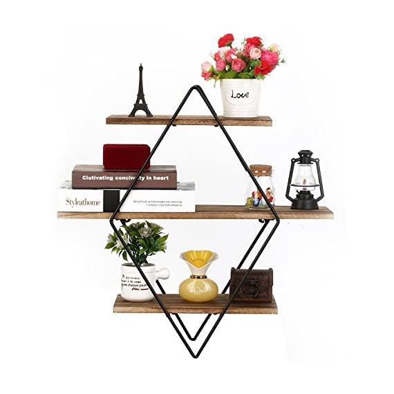 Homode Floating Shelves, 3 Tier Geometric Diamond Wall Shelves, Wood and Metal Art, Rustic Farmhouse Decor - The metal and wood shelf is uniquely different from the other giving it a rustic yet contemporary look perfect for any home. Geometric diamond shape shelves look aesthetically pleasing and perfect for organizing and displaying picture frames, books, vases and decor. Each piece is made from high quality stained wood and finished with metal galvanized brackets. - wall-shelves, living-room-furniture, living-room - 51Qvv6w 4fL. SS570  -