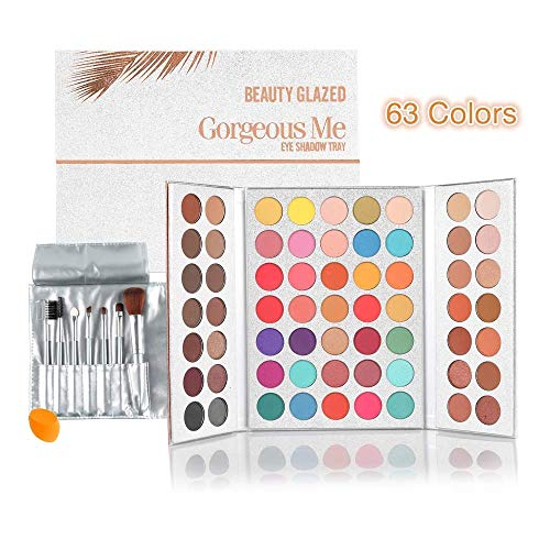 Beauty Glazed Gorgeous Me Eyeshadow Palette Matte Professional 63 Colors Eyeshadow Cosmetic Matte Eyeshadow Cream +Makeup Brushes Set and Powder Blender ()