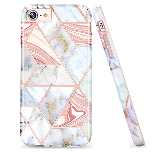 LUOLNH Compatible with iPhone 5 5s SE Case,Shiny Rose Gold Compass Marble Design Slim Shockproof Flexible Soft Silicone Rubber TPU Bumper Cover Skin Case for iPhone 5/5S/SE(Golden Plaid) (Marble Compass)