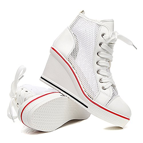 Shoes Canvas High Fashion Up 3 White heeled Sneaker Wedges Women's Pump Lace Smilety CwqZxOYZ