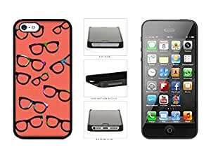 Hipster Glasses Colorful Spectacles Red Plaid Background Plastic Phone Case Back Cover For Apple iPhone 5 5S comes with Security Tag and MyPhone Designs(TM) Cleaning Cloth