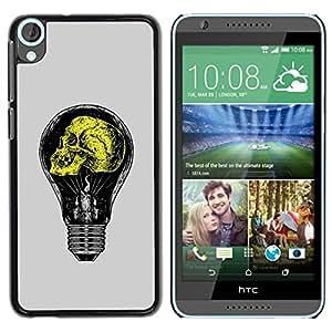 Be Good Phone Accessory // Dura Cáscara cubierta Protectora Caso Carcasa Funda de Protección para HTC Desire 820 // Grey Yellow Light Bulb Yellow Idea