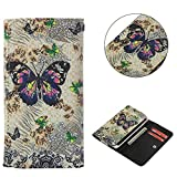 """Universal Cell Phone Flip Case, JULAM PU Leather Skin Protective Folio Case Cover Wallet Bag Card Slots Compatible LG G Stylo G4 Stylus 4G LS770 H631 F560K 5.7"""" More (Butterfly)"""