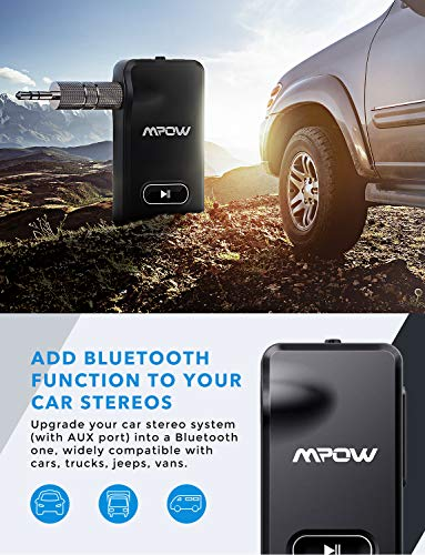 Mpow Bluetooth Receiver Aux Adapter Charging Car Kits Handsfree 15 hours Talking