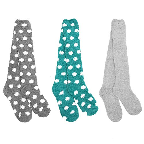 Socks Dot Fuzzy (Super Soft Warm Microfiber Fuzzy Knee High Dot Socks - Assortment 6 - 3 Pairs)