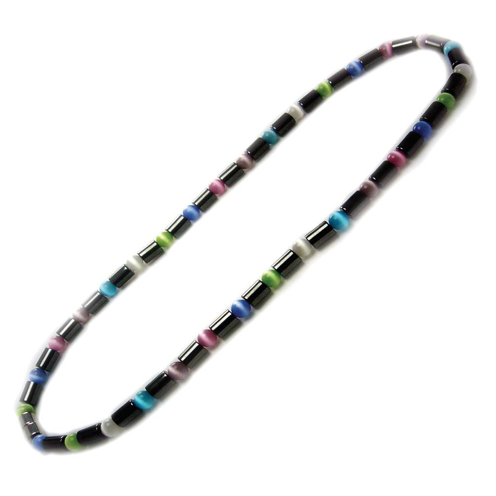 Accents Kingdom Women's Magnetic Hematite Color Cat's Eye Bead Necklace, 18''