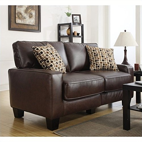 Serta RTA Palisades Collection 61'' Bonded Leather Loveseat in Chestnut Brown, CR43532P by Serta