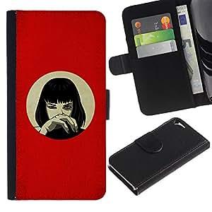 UNIQCASE - Apple Iphone 5 / 5S - Anime Red Girl - Cuero PU Delgado caso cubierta Shell Armor Funda Case Cover