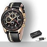 LIGE Moda Superior Marca de Lujo Reloj de los Hombres de Oro Casual Reloj de Cuarzo de los Hombres de Cuero Militar Impermeable Reloj Deportivo Reloj de los Hombres