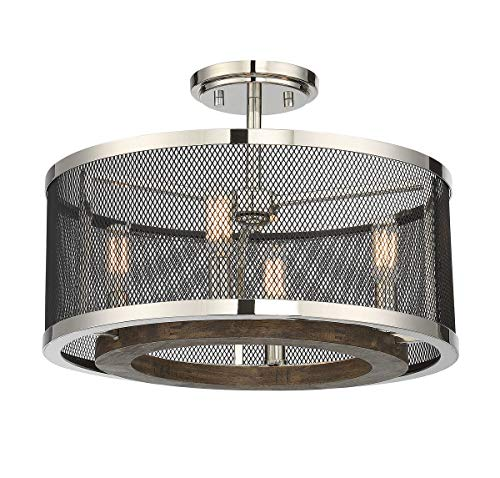 Savoy House 6-3092-4-73, Valcour 4-Light Semi-Flush in Polished Nickel w/Graphite and Wood - Accents Nickel Polished