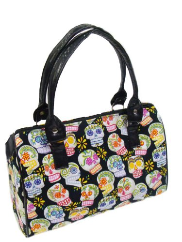 Us Handmade Fashion Sugar Skulls Calaveras Day Of The Dead Rockabilly Halloween Gothic Doctor Bag Satchel Style Handbag Pursecotton Fabric Drb1016 Drb-1016