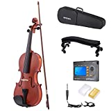 ammoon 4/4 Natural Acoustic Violin Fiddle Spruce Steel String with Case Arbor Bow Stringed Instrument for Music Lovers + 3-in-1 Digital Tuner Metronome Tone Generator + Violin Shoulder Rest