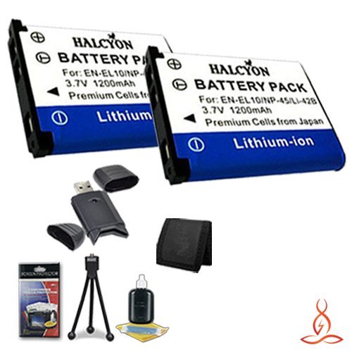 Two Halcyon 1200 mAH Lithium Ion Replacement LI-42B Battery + Memory Card Wallet + SDHC Card USB Reader + Deluxe Starter Kit for Olympus Stylus Tough TG-310, Tough 3000, Stylus 850, Stylus 5010, Stylus 7030, Stylus 7040, Stylus FE4030, VR310, VR320, VR330 by Halcyon
