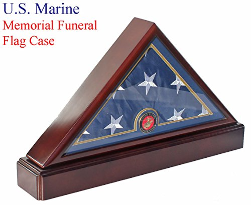 Memorial Case (Honorable U.S. Marine FLAG DISPLAY CASE Military Shadow Box for 5'X9.5' Burial/Funeral/Casket Folded, FC79P5)