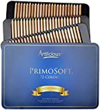 Office Products : Artlicious - PrimoSoft 4.0 mm - 72 Premium Soft Core Wooden Colored Pencils in Tin Case