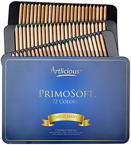 Artlicious - PrimoSoft 4.0 mm - 72 Premium Soft Core Wooden Colored Pencils in Tin Case