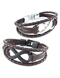 Konov Jewelry Leather Mens Womens Bracelet, 2pcs Infinity Bangle, Brown Black Silver, with Gift Bag, C25260