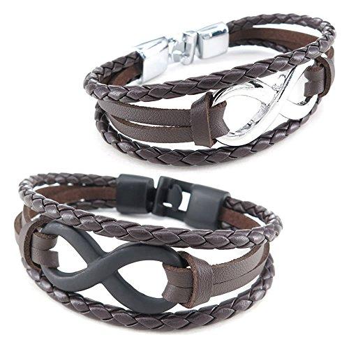 KONOV Womens Leather Bracelet Infinity