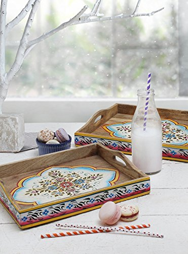 Masterpiece Collection Side Table (Store Indya Set of 2 Coffee Table Trays Wooden Serving Decorative Tray Platter for Parties Kitchen Accessories Multipurpose Tabletop Display (Floral Collection))