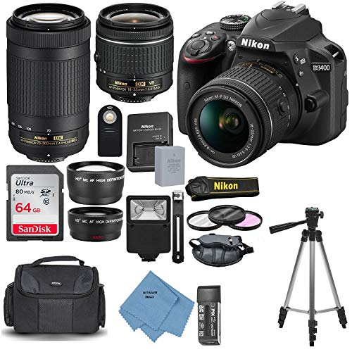 Nikon D3400 with AF-P DX NIKKOR 18-55mm f/3.5-5.6G VR + Nikon AF-P DX NIKKOR 70-300mm f/4.5-6.3G ED Lens + 64GB, Deluxe Accessory Bundle and Ultimate Deals Cleaning Accessories