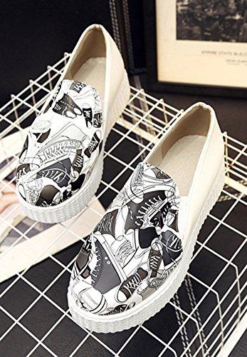 Aisun Baskets Plateforme Multicolore Femme Noir Imprimé Mode qnRagq7