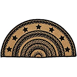 VHC Brands Classic Country Primitive Flooring - Farmhouse Jute Black Stenciled Stars Half Circle Rug