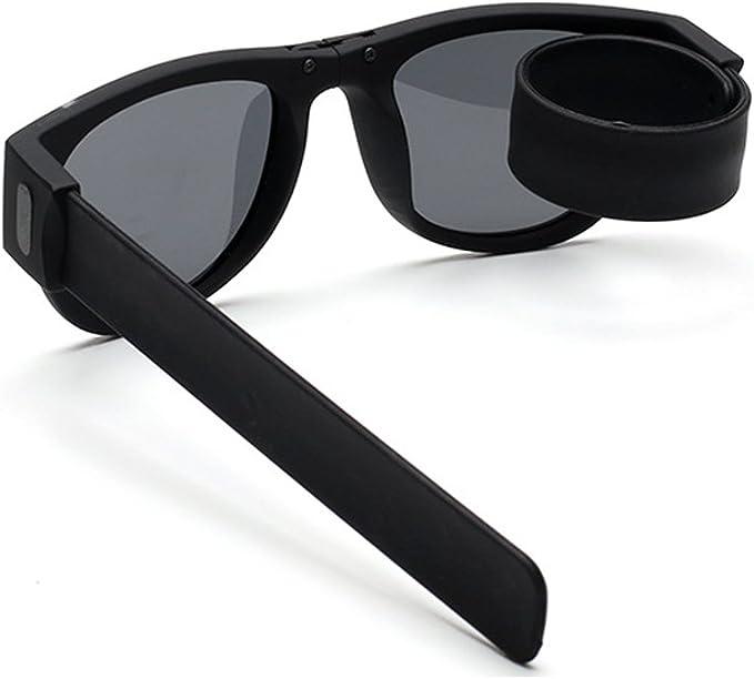 LIGHTOP Gafas de Sol Deportivas Plegables Slap-On Gafas de Sol Unisex Deporte Plegables y enrollables UV400 protección para los vidrios Casuales al Aire Libre Flexibles (Negro): Amazon.es: Deportes y aire libre