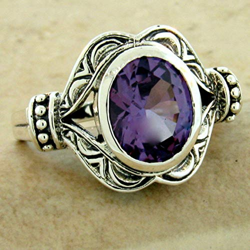 (Color Changing 3 CT LAB Alexandrite 925 Silver Antique Style Ring Size 6 KN-4089)