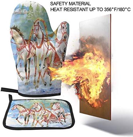 NiWCGP Weihnachtspferd Schneeflocke Hitzerbeständige Ofenhandschuhe rutschfeste Küchenhandschuhe Handschuhe für Backen, Kochen, BBQ