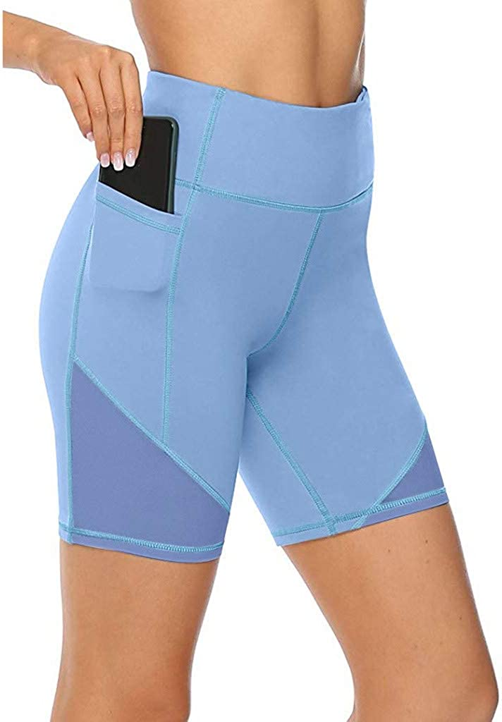 Shorts Glorxha Womens Yoga Tummy Control Workout Running Athletic Non See-Through Yoga with Hidden Pocket