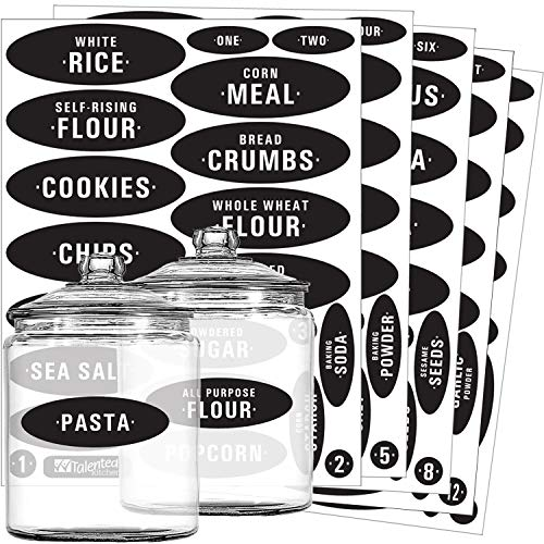 Pantry Labels - 105 Preprinted & Write-On Chalkboard Kitchen Labels Sticker Set by Talented Kitchen. Black Chalk, Water Resistant, Reusable, Food & Spice Jar Labels for Pantry Organization and Storage